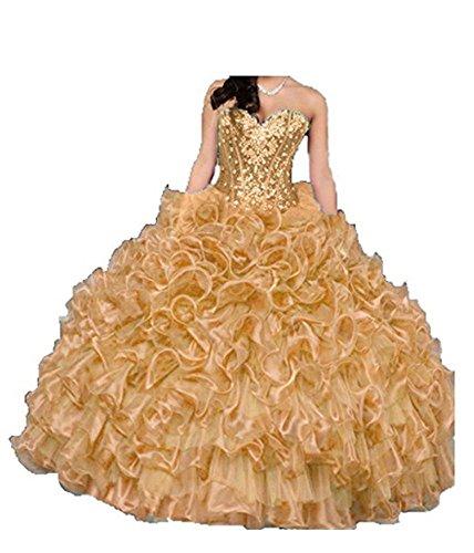 Cristallo D'oro Vestito Sfera Lungo Delle Dolce Angela Innamorato 16 Donne Abito Volant Quinceanera vTwnzqq5