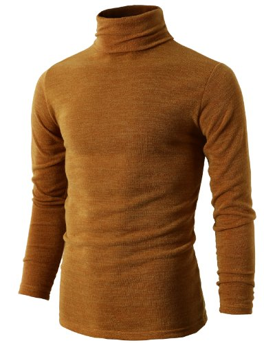 H2H Mens Basic Knitted Turtleneck Pullover Sweaters of Various Colors