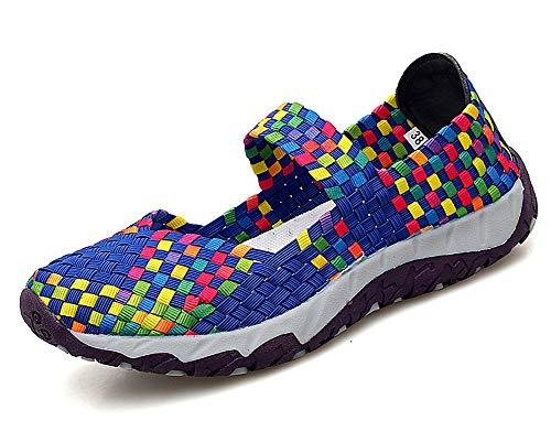 Aitaobao Mujer Verano de Tejidas Ligeras Slip On Sports Shoes Casual Deportivos Respirable para Malla Elástico Zapatos