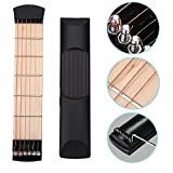 ONEST Portable Wooden Pocket Guitar Practice Tool Gadget Guitar Chord Trainer 6 Fret + Guitar Scale Stickers Fingerboard Note Decals for Beginner Practice