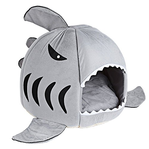 COCOPET Shark Bed for Small Cat Dog Cave Cozy Bed Removable Cushion,Waterproof Bottom Grey M For Sale