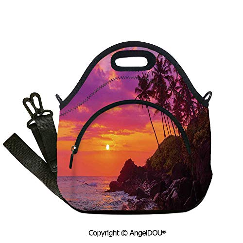 AngelDOU Ocean Lunch Bag with Adjustable Shoulder Strap Exotic View of Tropical Beach by the Ocean with Palms and Waves toward the Rocks for Students Office Worker.12.6x12.6x6.3(inch)