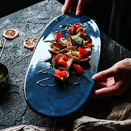 - FUKAI Eco Friendly Japanese Creative Ceramics Deep Blue Oval Sushi Tray Plate 1pc 32895660550-200004870