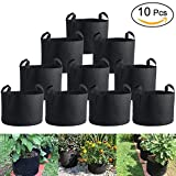 Aeration Planting Pot, 7Gallon/10Gallon Round Planting Grow Bags Aeration Fabric Pots with Handles Garden Potato Vegetable Flower Root Container Bonsai Pot (10Pack-7GAL)