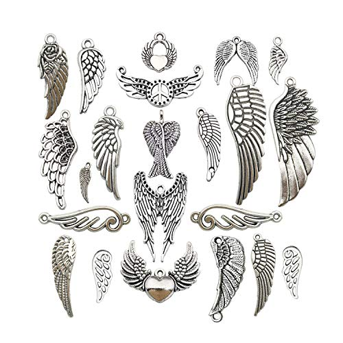 (iloveDIYbeads 42pcs Craft Supplies Antique Silver Feather Angel Wings Charms Pendants for Crafting, Jewelry Findings Making Accessory for DIY Necklace Bracelet M185)