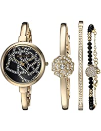 Women's AK/3080GBST Swarovski Crystal Accented Gold-Tone Bangle Watch and Bracelet Set