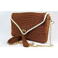 PITZI Bolso 2 en 1, cluth y bandolera hecho a mano, tejido a crochet con hilo 100% algodón mercerizado.