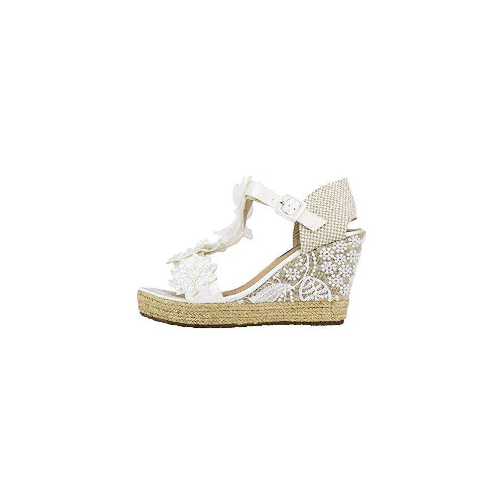 Cuña de Esparto Novia Flores Blanca - Benavente: Amazon.es: Zapatos y complementos