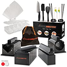 Sushi Making Kit - 17 Piece Beginner Set - 10 Shape Molds, Knife, Spatula, Fork, Chopsticks, Sauce Dishes & Sushi Maker Guide Book - Black - by KitchenBoosterz
