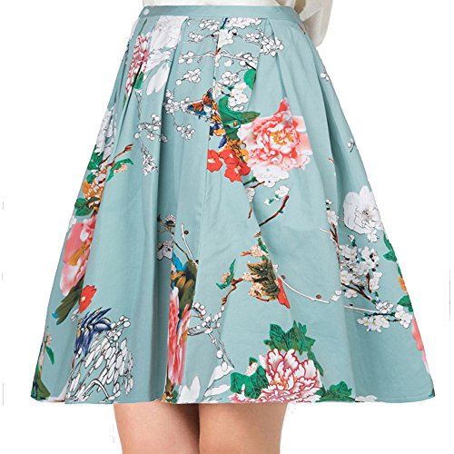 YISHIWEI Women Pleated Vintage Skirts Floral Print with Pockets (xx-Large, Green)