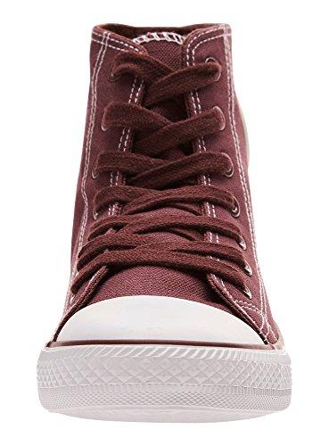 Cotone In Rosso Di Alte Donna Tela Sneakers Oodji 4910b Ultra Yxq470YB