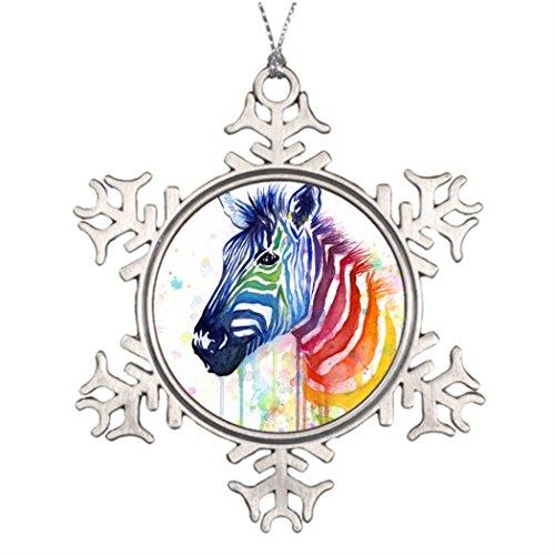 Dobend Xmas Trees Decorated Zebra Rainbow Watercolor Santa Decorations ()