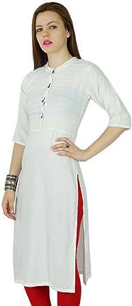Bimba Mujer Rayón Personalizada Manga Corta Kurti Kurta túnica Larga Blusa de la Tapa de la India Ropa de Verano: Amazon.es: Ropa y accesorios