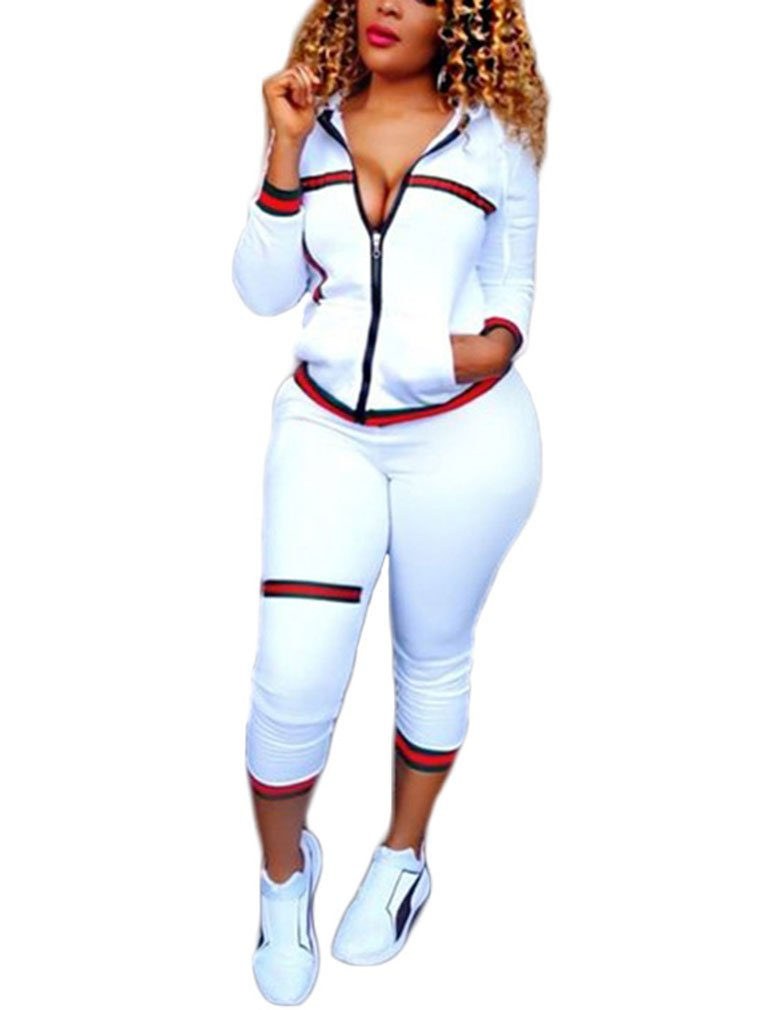 Womens 2 Piece Outfits Hoodies and Pants Set Sweatsuits Tracksuits White M