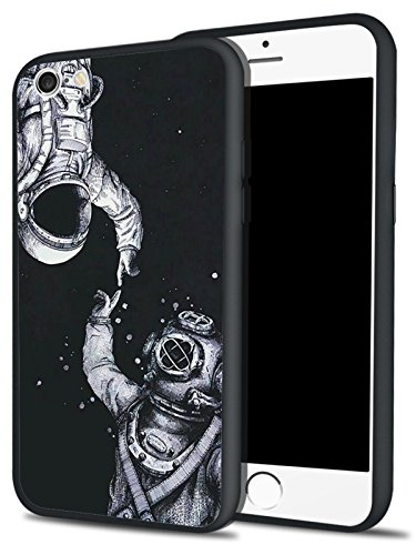 - MAYCARI Hybrid iPhone 6 6s Plus Case Ultra Thin Soft Flexible TPU Bumper Hard PC Back Protective Shell with Space Astronaut Pattern Print Black Cover for Men