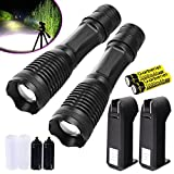 Garberiel 2 Packs LED Flashlight 18650 Rechargeable Flashlight Torch Waterproof T6 Light - Recharcheable Battery & Charger Included