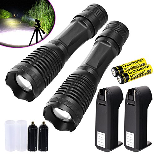 Garberiel 2 Packs LED Flashlight 18650 Rechargeable Flashlight Torch Waterproof T6 Light - Recharcheable Battery & Charger Included by Garberiel (Image #7)