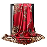 Fonshow Silk Like Scarf Neck Scarves Women's Large Square Satin Hair Scarf 35 x 35 inches (AC18)
