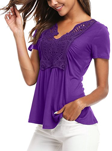 MISS MOLY Women's Summer Ruched Front Short Sleeve Lace Casual V Neck Cute Slim Peplum Plus Size Tops Shirt Tees Purple XL