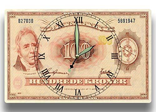 - Hans Christian Orsted Customized Money Clock Danmarks Nationalbank Series 970 100 Danish Kroner Banknote 8 x 12 inch clock Physics Chemistry
