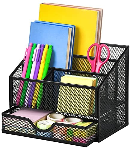 Marbrasse Upgraded Mesh Desk Supplies Organizer with Drawer, Office Desktop Organizers and Accessories, Desk Stationery Organizer Caddy for School, 4 Compartments Pencil Holder – Black