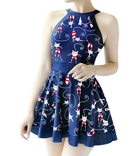 crazycatz Womens High Neck Cat Print Swimdress with Boyshort