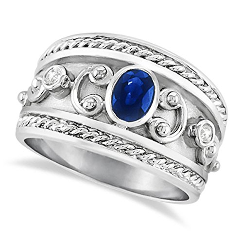 0.73ct Antique Style Oval Shaped Blue Sapphire and Diamond Accented Byzantine Ring 14k White Gold