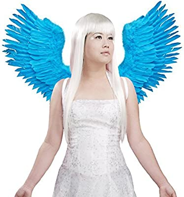 TM FashionWings White Open Swing V Shape Costume Feather Angel Wings Adult