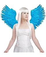 FashionWings (TM) Blue Open Swing V Shape Costume Feather Angel Wings Adult Unisex