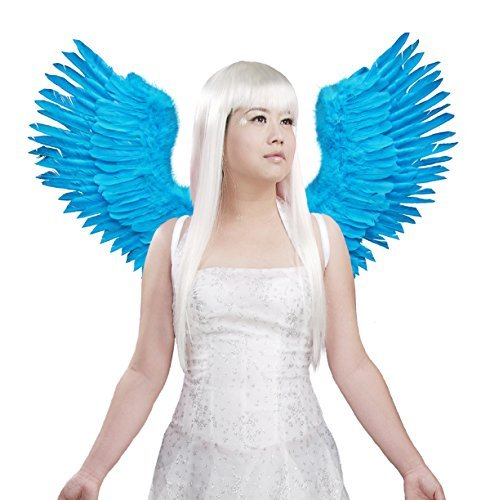 Blue Angel Wings Costume (FashionWings (TM) Blue Open Swing V Shape Costume Feather Angel Wings Adult Unisex)