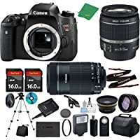 Canon T6s Camera with 18-55mm IS STM + 55-250mm STM Lens + 2pcs 16GB Memory + Case + Memory Reader + Tripod + ZeeTech Starter Set + Wide Angle + Telephoto + Flash + Filter