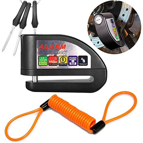 ILamourCar Disc Brake Lock,Alarm Disc Lock,Motorcycle Bike Anti-theft&Waterproof Brake Disc Wheel Alarm Security Lock,110dB Alarm Sound and 6mm Pin with 1.3m Reminder Cable for Motorcycles - Black by ILamourCar (Image #7)