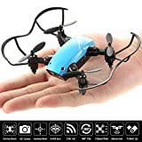 Nano Mini RC Portable Pocket Foldable Stunt Drone Quadcopter Helicopter for Kids, Beginners, Indoor & Outdoor- Camera, Remote Control, Headless Mode & Altitude Hold (Blue)