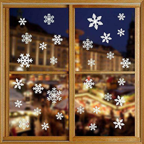 LAWHO 81Pcs Snowflake Window Clings Decal Stickers Christmas Winter Wonderland Decorations Ornaments Home Party Decals Glueless PVC Wall Stickers