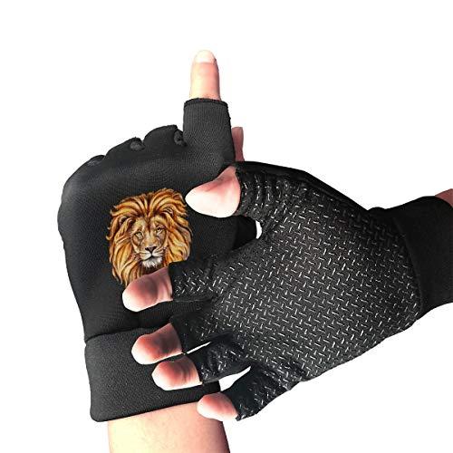 Agilitynoun Bicycle Half Finger Gloves Lion Pattern Unisex Anti-Slip Shock-Absorbing Foam Padded Gel Pad Gym Boxing Sports Gloves]()