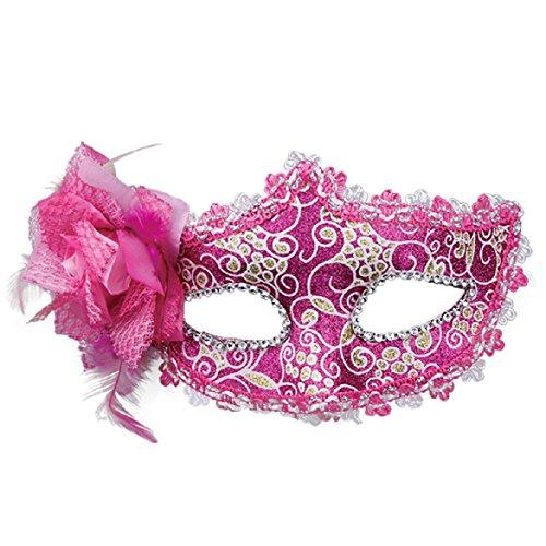 [SusenstoneRhinestone Venetian Masquerade Halloween Mask for Women (Hot Pink)] (Hot Halloween Costumes For Guys)