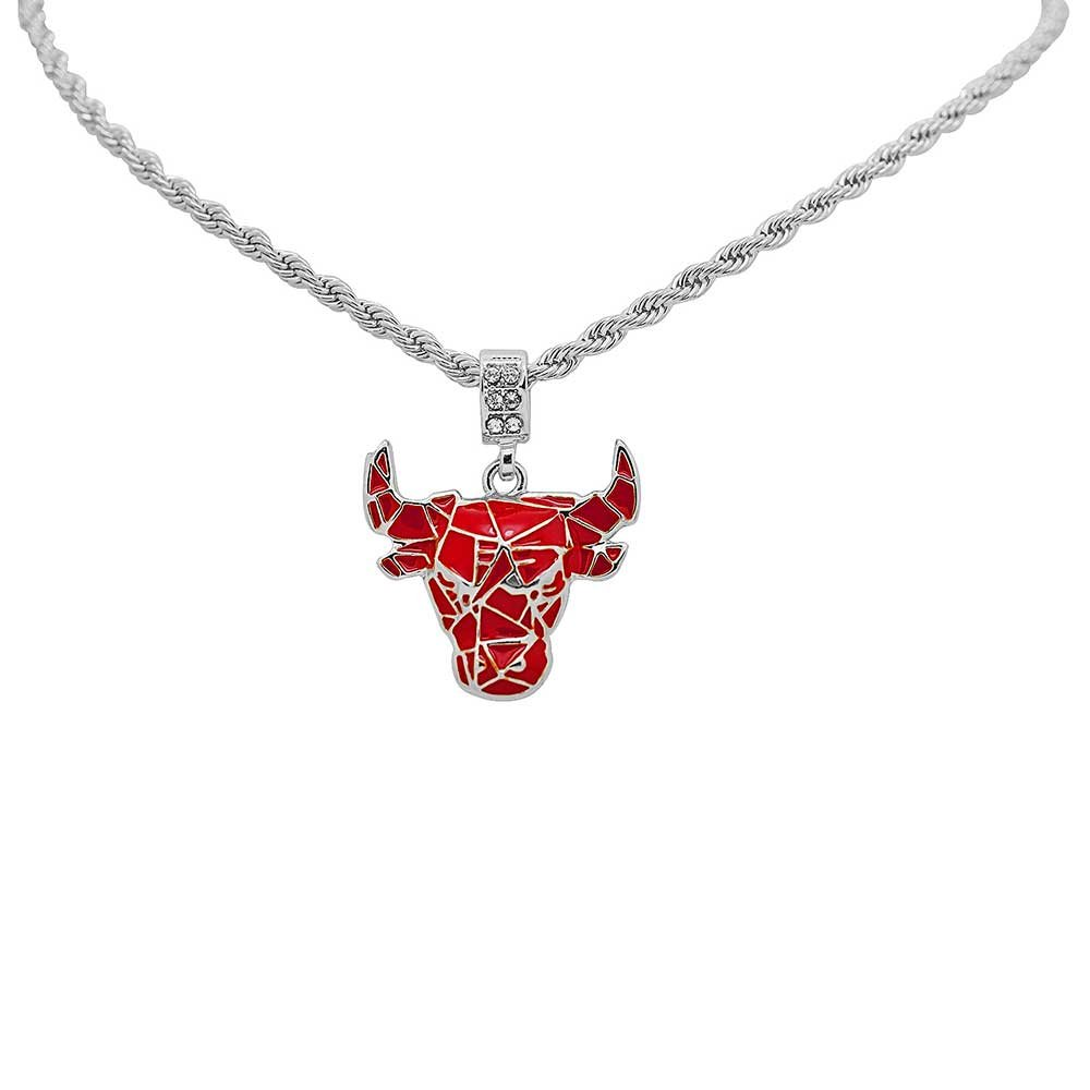 White Gold-Tone Iced Out Hip Hop Bling Cubic Zirconia Red Bull Pendant with 24'' Rope Chain