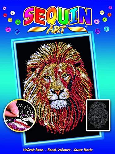 Lion Picture Hanging - Sequin Art Blue, Golden Lion, Sparkling Arts and Crafts Picture Kit