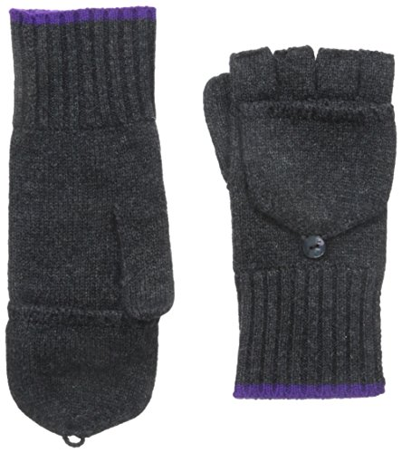 Phenix Cashmere Women's Cashmere Knit Pop Top Mitten, Charcoal/Purple, One Size