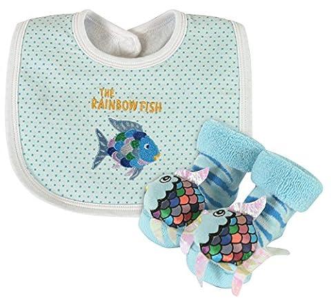 Stephan Baby Rainbow Fish Bib and Rattle Socks Gift Set - Soul Fish