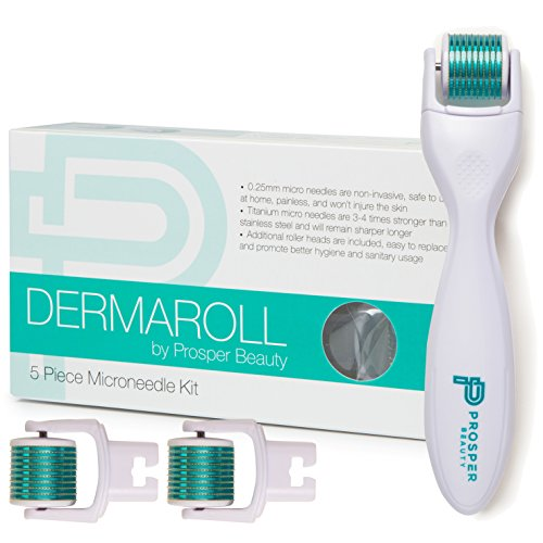 Derma Roller Microneedle 5 Piece Kit [DERMAROLL by Prosper Beauty] Face Roller with 3 Replaceable Heads Exfoliation Microdermabrasion Micro Derma Skin Care Tool Dermaplaning Dermapen Microneedling ()