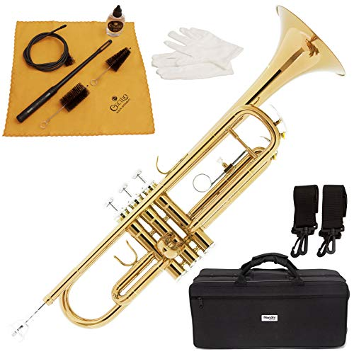 Mendini by Cecilio Gold Brass Standard Bb Trumpet with Hard