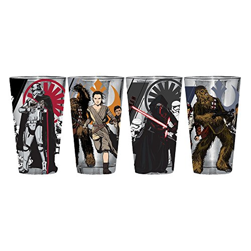 Silver Buffalo SE03P1 Star Wars Episode 7 Kylo Ren, Captain Phasma, Chewbacca and Rey Poster Pint Glass Set, 4-Pack