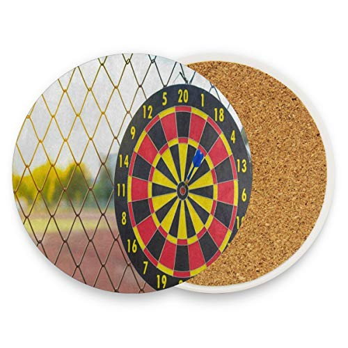 SLHFPX Blue Arrow Dartboard Coasters, Prevent Furniture from Dirty and Scratched, Round Drink Coasters Set Suitable for Kinds of Mugs and Cups, Living Room Decorations Gift