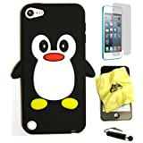BUKIT CELL (TM) Apple iPod Touch 5th / 6th Generation Penguin Silicone Case (BLACK) + BUKIT CELL Trademark Lint Cleaning Cloth + Screen Protector + WirelessGeeks247 METALLIC Touch Screen STYLUS PEN with Anti Dust Plug [bundle - 4 items: case, cloth, stylus pen and screen protector]