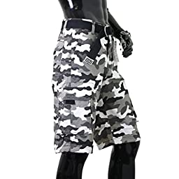 Pro Club Men\'s Cotton Twill Cargo Shorts with Belt, White (City Camo), 36\