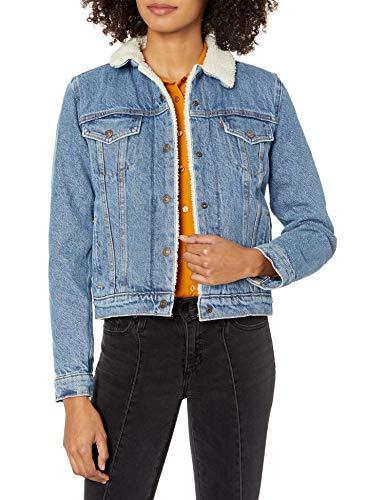 Levi's Women's Original Sherpa Trucker Jackets, Divided Blue, X-Large
