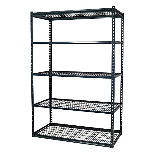 Storage Pro Garage Shelving Boltless, Heavy Duty, 5 Shelves with Wire Mesh Decking, Low Profile, 48 x 12 x 72