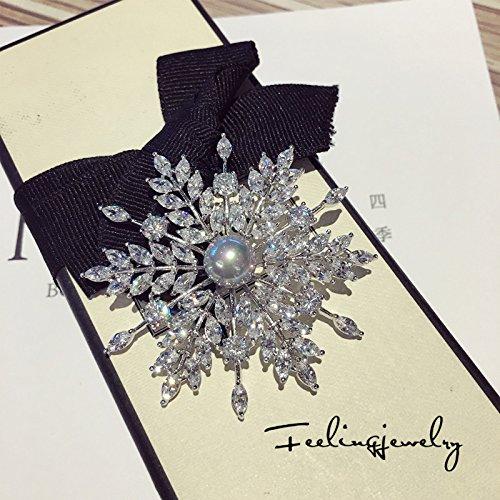 TKHNE super wild burst flash zircon gray snowflake brooch pin badge pin brooch pin badge pearl jewelry gift luxury