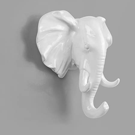 Coat Hook Trapal Decorative Animal Head White Elephant Single Coat